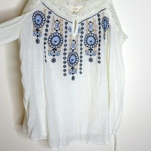 Anthropologie E hanger M BoHo Sheer Blouse Sz M